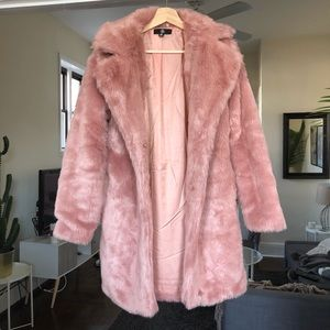 Missguided Jackets & Coats - Pink faux fur coat
